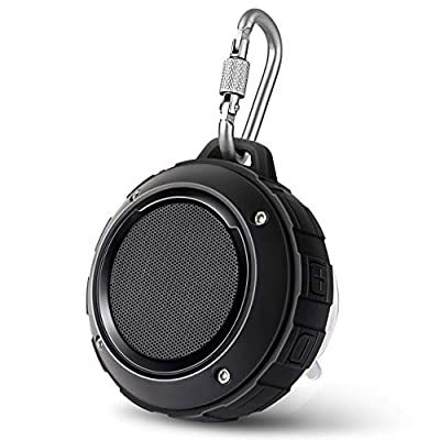 Portable Outdoor Bluetooth Speaker,Lenrue Wireless Shower Waterproof Speakers Rechargable Stereo,with Hook,Built-in Mic for iPhone/IPad/Andriod/Samsung/Tablet/Echo dot (Black) by Lenrue