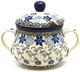 Polish Pottery Sugar New York Mall Bowl Silver - Lace Excellent