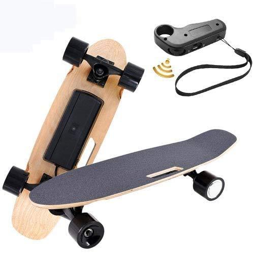Oppikle Elektrisches Skateboard Longboard E Skateboard Elektrisches City Scooter Elektrolongboard mit Fernbedienung und Motor - Reichweite Ca 10 km - Geschwindigkeit 20km/h (Schwarz)