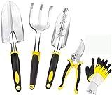 Juego de herramientas de jardinería Dailyextrem, 5 piezas, incluye guantes, podadora, rastrillo, paleta de trasplante y paleta para jardinero, kit de herramientas de jardín
