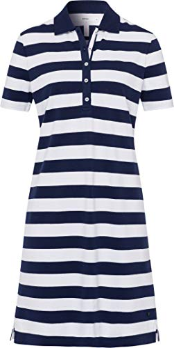 Brax Gweneth jurk voor dames, piqué, strepen, katoenen jurk, polokraag, gestreept