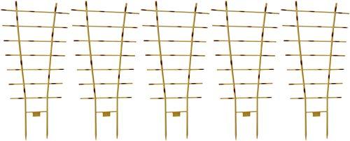 Novatool 5X Pflanzengitter Bambus I 77 x 36 cm I Kunststoff I Braun I Blumengitter Rankgitter Rankhilfe für Kletterpflanzen Pflanzen Stützen Pflanzenstock