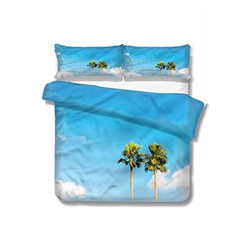 Palm Tree - Juego de 3 fundas de almohada (1 funda de edredón y 2 fundas de almohada), diseño de arte moderno, poliéster, Color 13, cama individual