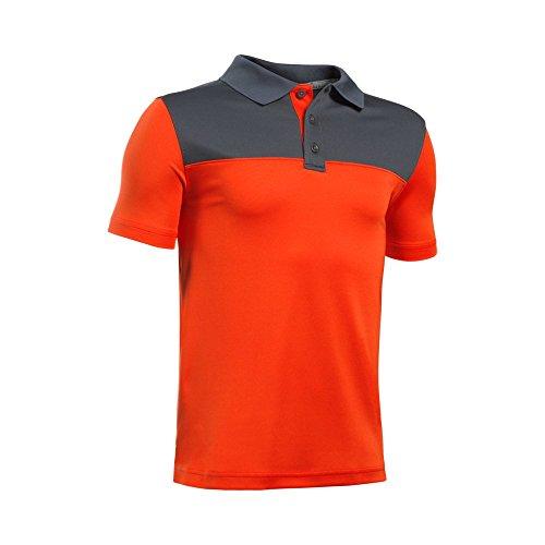 Under Armour Boys' Performance Blocked Polo Shirt, Dark Orange (860)/Glacier Gray, Youth X-Large