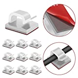 JIRVY Self Adhesive Cable Clips Cable Management Wire Clip Cord Holder 100 Pack (Model R White)