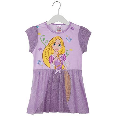 Disney Pijama Niña, Camison de Las Princesas Ariel Cenicienta Bella Jasmine o Rapunzel, Vestidos Niña para Dormir, Regalos para Niñas 2-12 Años (Morado, 7-8 años)