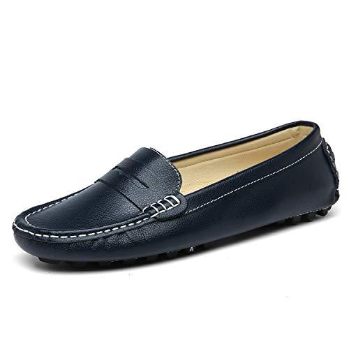 LUOBANIU Damen Mokassin Leder Slipper Bootsschuhe Slip-on Halbschuhe Damenschuhe Flache Schuhe Blau 37 EU (7 US)