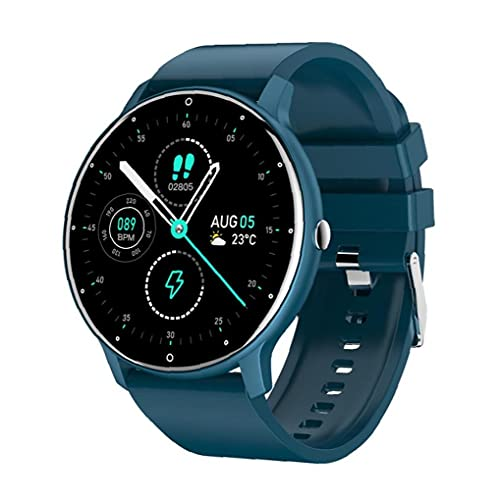 Relojes inteligentes reloj de ritmo cardíaco.Smart relojes a prueba de agua Pulseras de aptitud deportivas con pantalla táctil Detección de salud azul