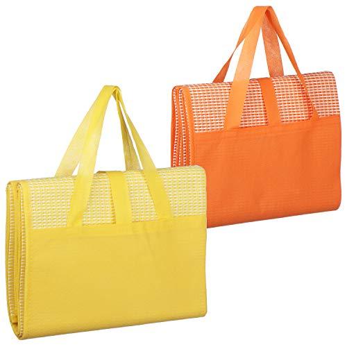 com-four® 2X Picknickdecke - Ultraleichte Stranddecke, faltbar mit Tragegriff ideal als Campingdecke oder Strandmatte (02 Stück - 90x175cm/gelb.orange)