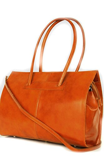 Leather business / file / laptop bag with shoulder strap Italy Mod.2026-5 cognac