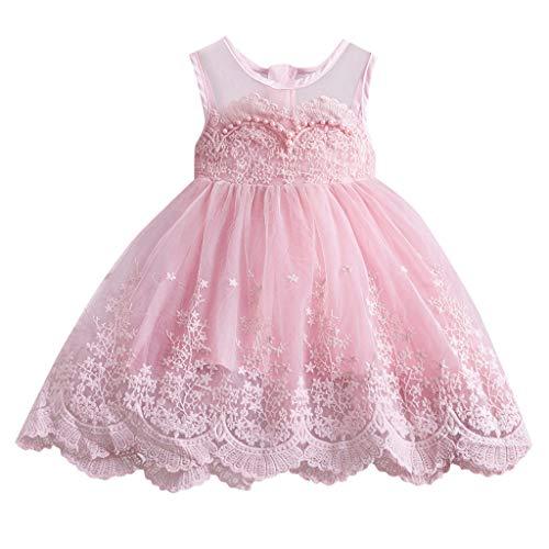 LEXUPE Kleinkind Kinder Baby Mädchen Spitze Rüschen Tüll Patchwork Prinzessin Kleider Kleidung(C-Rosa,140)
