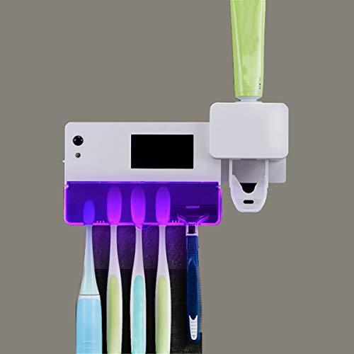 Uv-sanitair-tandenborstelhouder, desinfectiebox, germ vrij, voor tandenborstel en scheerapparaat, hygiëne, wandhouder op zonne-energie, organizer, tandpasta opslag voor thuis en badkamer