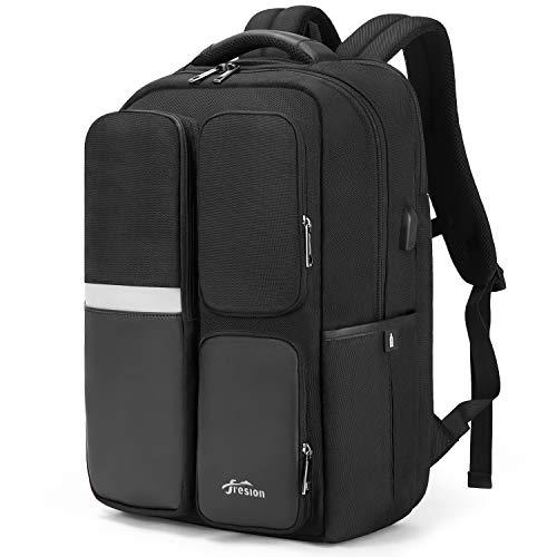 Fresion 17,3 Zoll Laptop Rücksack für Herren Damen, Große Reiserucksack Business Rucksack mit USB Ladeanschluss für Arbeit Uni, Schwarz
