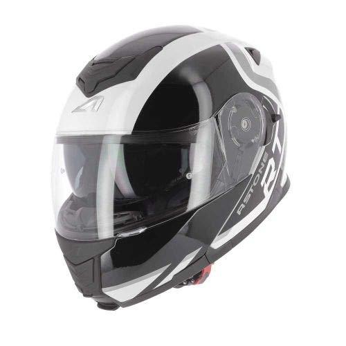 Astone Helmets - RT1200 Graphic King - Casque de moto modulable - Casque de moto polyvalent - Casque de moto homologué - Coque en polycarbonate - White XL