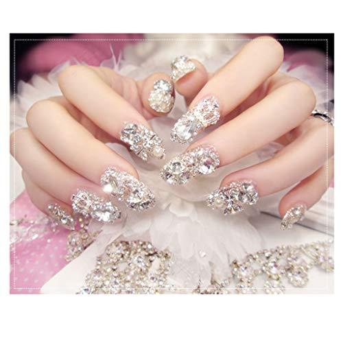 JIN HUA-fake nails Braut Nagel-Flecken Lange Oval Kopf voller Diamant-Maniküre-Finished-Fälschungs-Nagel-Flecken-Wearable Hochzeitsfotos 24 Stück