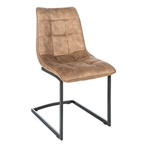Invicta Interior Design Freischwinger Stuhl Miami Taupe braun Metallgestell matt schwarz Stuhl Besucherstuhl