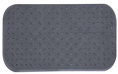 MSV Premium Duschmatte Badematte Badewannenmatte Badewanneneinlage antibakteriell rutschfest mit Saugnäpfen - Grau - duftet nach Rosen - ca. 36 x 65 cm - waschbar bei 60° Grad