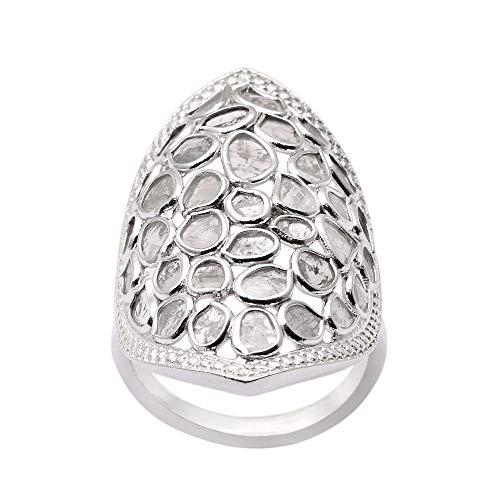 Shine Jewel 1.80 CTW Natural Sin Cortar Rodaja Anillo de diseñador de Plata de Ley 925 Diamond Polki