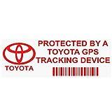 PP - Adhesivo de advertencia de dispositivo de seguimiento por GPS del vehículo de 87x30mm, diseño con logo de Toyota y texto en inglés, 5 unidades, color rojo