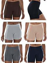 Sexy Basics Womens 6 Pack Buttery Soft Brushed Active Yoga Stretch Mini -Bike Short Boxer Briefs (6 Pack - CORE Solids, Large)