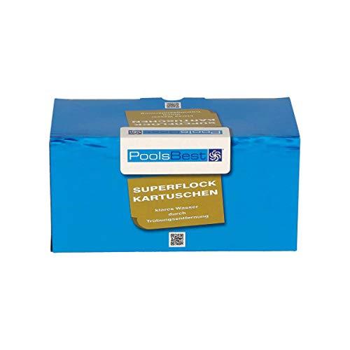 POOLSBEST® 1 kg Superflock Kartuschen 8 x 125 g für Dauerflockung - Flockungskartusche für kristallklares Wasser - portionierte Trübungsentferner