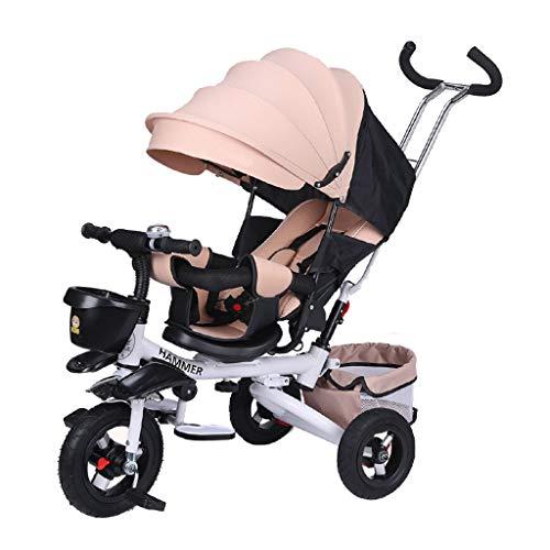 GYF Silla de paseo plegable 4 en 1 para niños, multifunción, asiento reclinable, cinturón de seguridad giratorio de cinco puntos, 5 opciones de color (color: caqui)