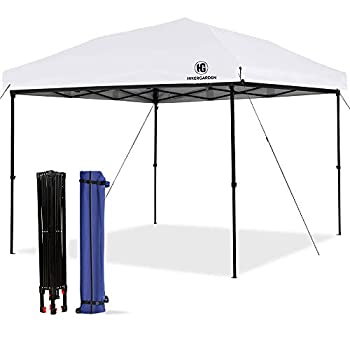 HG Pop-up-Canopy-Tent-10x10 FT UV 50+ Waterproof Shelter 3 Adjustable Height with Wheeled Carrying Bag 4 Ropes and 4 Stakes Outdoor and Commercial Instant Canopy