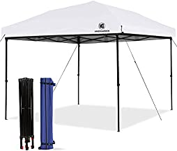 HG Pop-up-Canopy-Tent-10x10 FT, UV 50+ Waterproof Shelter, 3 Adjustable Height with Wheeled Carrying Bag, 4 Ropes and 4 Stakes, Outdoor and Commercial Instant Canopy