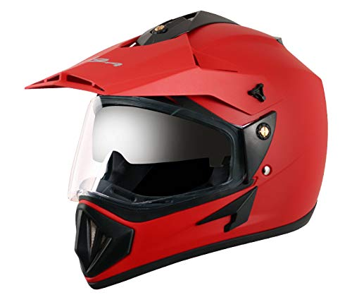 Vega Off OR-D/V-DR_L Road Full Face Helmet (Dull Red, L)