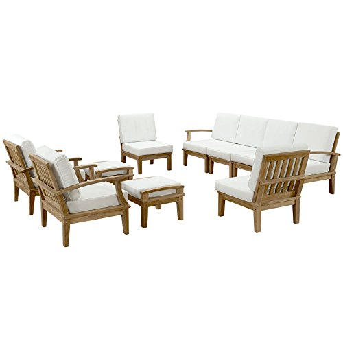 lexmod patio furniture sets LexMod Marina 10 Piece Outdoor Patio Teak Sofa Set in Natural White