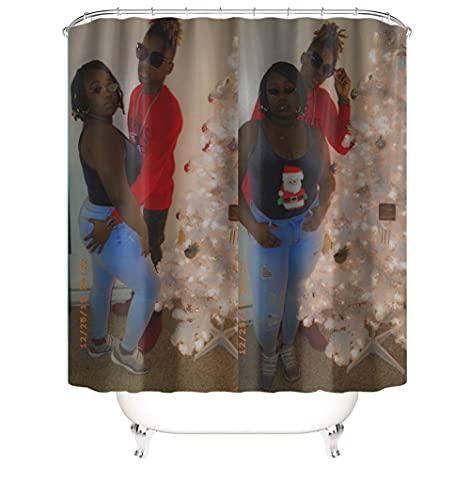 Impermeabile Tenda da Doccia 3D con 12 C-forma plastica Ganci per Tende Doccia Tessuto in poliestere Shower Curtain Lavabile per bagno di casa 72 x 72 Inch(180 x 180 Cm) coppie A6387