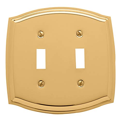 Baldwin Estate 4766.030.CD Colonial Double Toggle Wall Plate in Polished Brass, 5.1'x5.1'