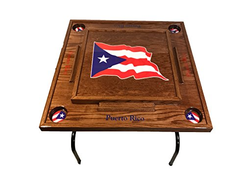 Best Price! Puerto Rico Domino Table with the Flag (Red Mahogany)