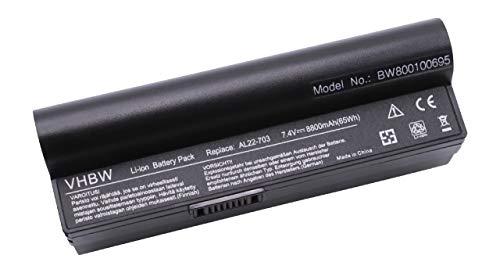 vhbw Batterie LI-ION 8800mAh 7.4V Noir Compatible pour ASUS EEE PC 900a / 900HA / 900HD remplace AL22-703