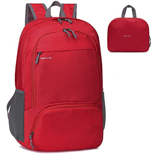 MRPLUM 25L-30L Rucksack Foldable Ultralight Packable Backpack, Unisex Durable Handy Daypack for Travel & Outdoor Sports Durable & Waterproof (Red)