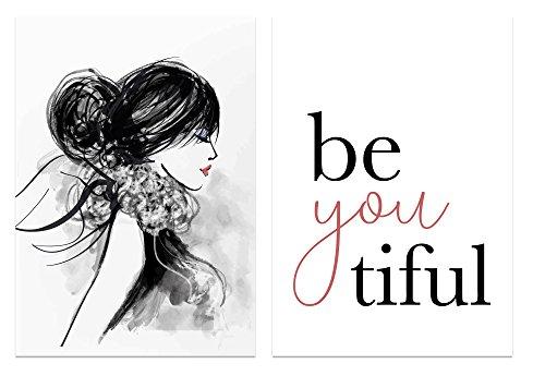 PICSonPAPER Poster 2er-Set BeYouTiful, ungerahmt DIN A4, Dekoration, Kunstdruck, Wandbild, Typographie, Geschenk (Ungerahmt DIN A4)