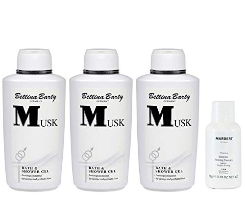 Bettina Barty Musk Bath & Shower Gel 3 x 500 ml + Marbert Enzyme Peeling Puder 10 g Gratis