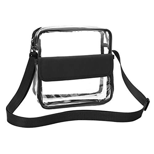 Klare Brieftasche mit verstellbarem Gurt, Qkurt Concert Stadium Approved Clear Bag Transparent Purse for Women Men | Wasserdicht, schwarz