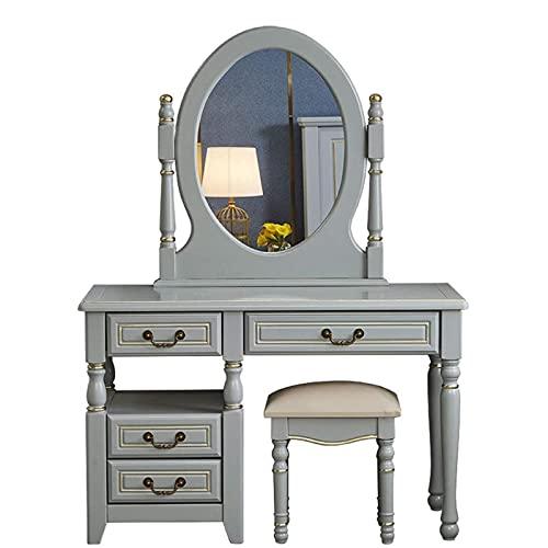 HHTD Mesa de tocador con Espejo y tocador con 4 cajones Estilos de tocador de Estilo Europeo.