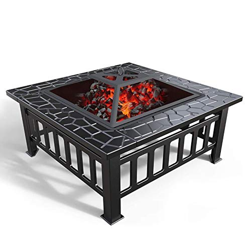 Lhh 3 In 1 Square Firepit for Barbecue, Heater, Ice Pit - Fire Pit Table with Waterproof Cover for Garden Patio Outdoor