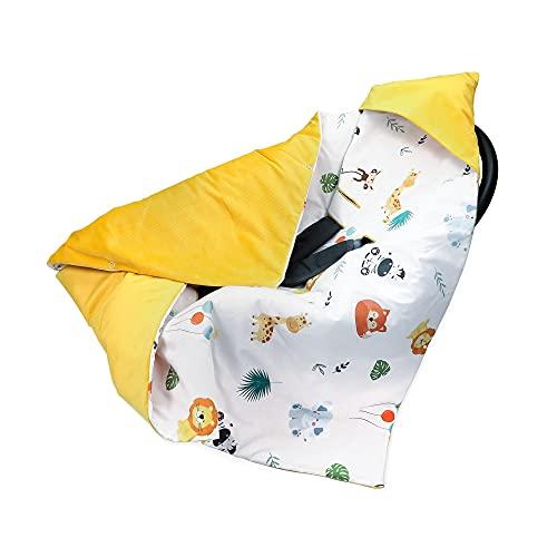 Einschlagdecke Babyschale 90x90 cm - universal Herbst Winter Baby Babydecke z. B. für Maxi Cosi Buggy Autositz Velvet Baumwolle Öko-Tex