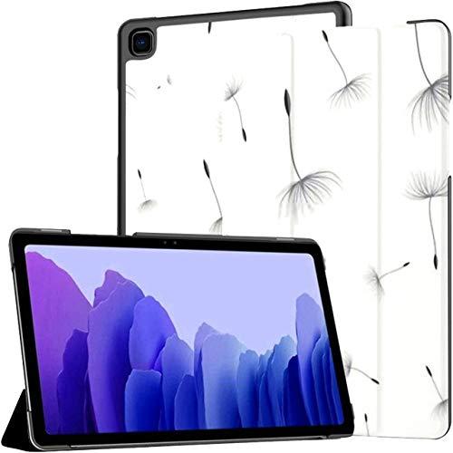 Estuche para Tableta Samsung Galaxy Tab A7 de 10,4 Pulgadas 2020 (sm-t500 / t505 / t507), Fondo con patrón de Diente de león sin Costuras, Semillas Grises, Soporte con Soporte de ángulo múltiple con