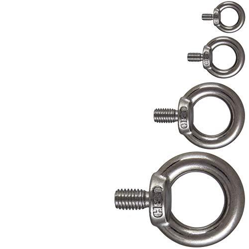 Premium Edelstahl Augbolzen Ringbolzen /Ösenschraube Ringschraube Augenschrauben M4 M4-M12 Silber