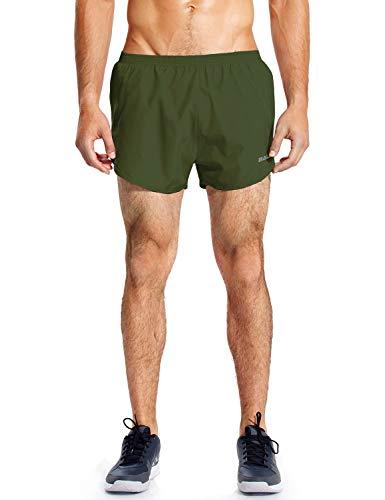 BALEAF Herren Laufshorts Trainingsshorts Split Shorts mit Innenslip für Running Marathon Armee-grün XL