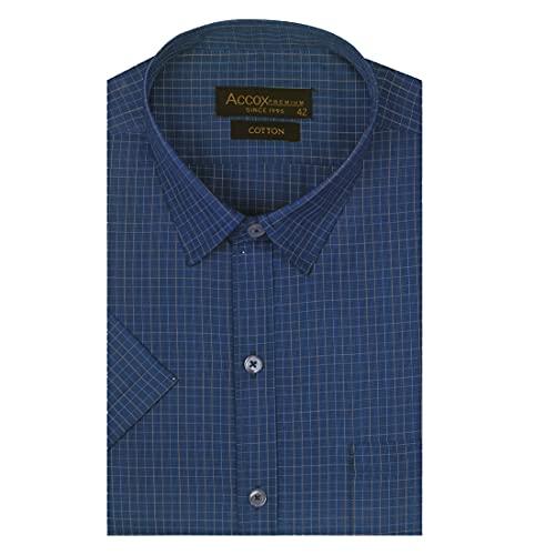 ACCOX Men's Half Sleeves Regular Fit Cotton Formal Checkred Shirts(GCR42)