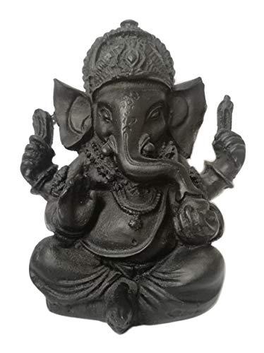 Schwarze Ganesh Figur - Gott Elefant Glücksbringer Statue, Gott der Glück der Weisheit, der Intelligenz, Beseitigung aller Hindernisse - Ganesha Talisman - Handgemaltes Harz - H 9 cm