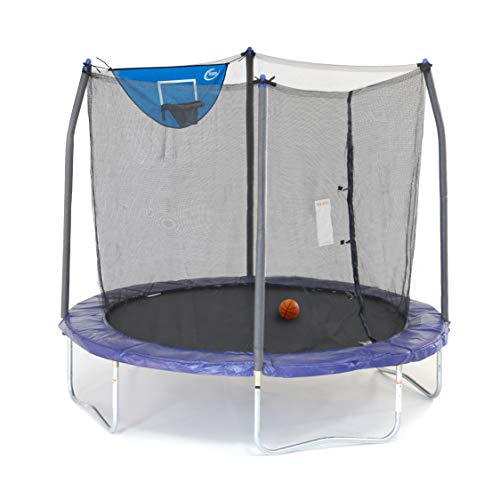 Skywalker Trampolines Jump N' Dunk Trampoline with Safety Enclosure and Basketball Hoop, Blue, 8-Feet