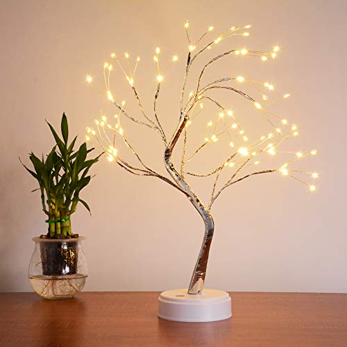 Midore LED Bonsai Baum Lichter 45cm 108 LED Lichterbaum Tisch Bonsai Baum Künstliches Baum Batteriebetrieben Erntedankfest Weihnachtsdeko Zuhause Party Geburtstag Hochzeit Zimmer Innen Dekor