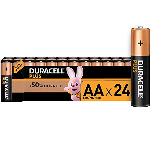 Duracell Plus AA Alkaline Batteries [Pack of 24], 1,5 Volts LR06 MN1500
