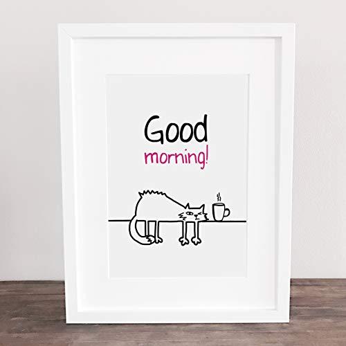 Bild, Deko, Poster, Küchenbild, Kunstdruck, Katze, cat, Guten Morgen, Kaffee, coffee, Spruch